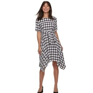 Elle Black & White Plaid Dress NWT Size Large